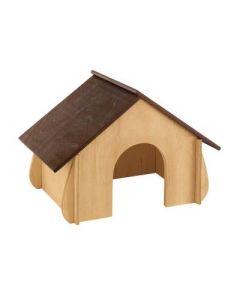 Домик для грызунов FERPLAST для кроликов, деревянный 41x23,6x27,4см