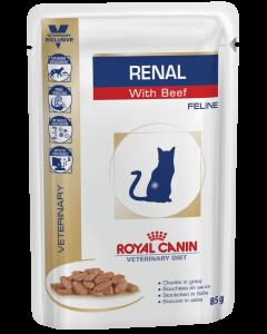 Royal Canin renal c говядиной диета для взрослых кошек с хронической почечной недостаточностью