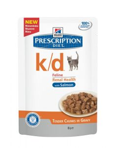 Hill's вет.консервы паучи K/D для кошек при лечении почек с лососем (кусочки в соусе), K/D Feline with Salmon