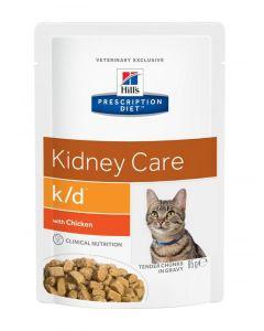 Hill's вет.консервы паучи K/D для кошек при лечении почек с курицей (кусочки в соусе), K/D Feline with Chicken