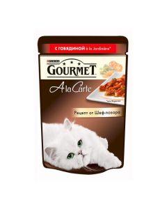 Gourmet Alcte Паучи в подливе для кошек с говядиной и овощами, 85г