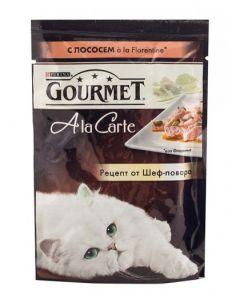 Gourmet Alcte Паучи в подливе для кошек с лососем и овощами, 85г