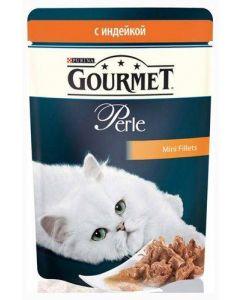 Gourmet Perle влажный корм для кошек мини-филе с индейкой, 85 г