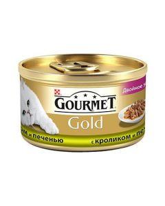 Gourmet Gold Duo паштет для кошек с кроликом и печенью, 85 г