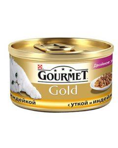 Gourmet Gold Duo паштет для кошек с уткой и индейкой, 85 г