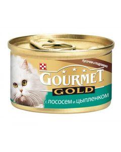 Gourmet Gold паштет для кошек с лососем и цыпленком, 85 г