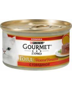 Gourmet Gold Нежная начинка паштет для кошек с говядиной, 85 г