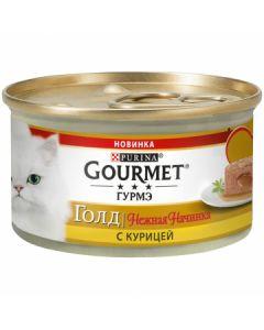 Gourmet Gold Нежная начинка паштет для кошек с курицей, 85 г
