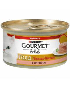 Gourmet Gold Нежная начинка паштет для кошек с лососем, 85 г
