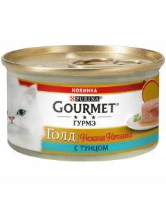 Gourmet Gold Нежная начинка паштет для кошек с тунцом, 85 г
