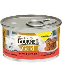 Gourmet Gold Нежные биточки паштет для кошек с говядиной и томатом, 85 г