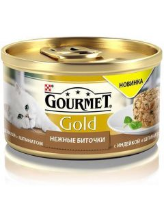 Gourmet Gold Нежные биточки паштет для кошек с индейкой и шпинатом, 85 г