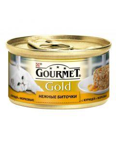Gourmet Gold Нежные биточки паштет для кошек с курицей и морковью, 85 г