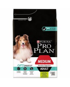 PURINA PRO PLAN dog medium adult с комплексом optidigest для взрослых собак средних пород с чувствительным пищеварением, с ягненком и рисом