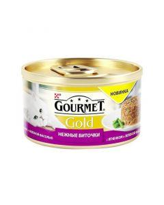 Gourmet Gold Нежные биточки паштет для кошек с ягненком и фасолью, 85 г