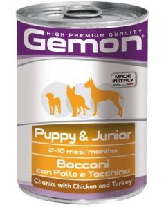 Gemon Dog консервы для щенков кусочки курицы с индейкой