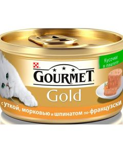 Gourmet Gold паштет для кошек с уткой, морковью и шпинатом, 85 г