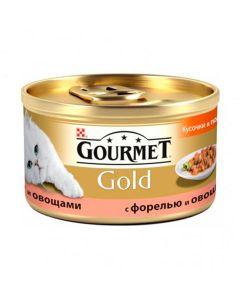 Gourmet Gold кусочки в подливке для кошек с форелью и овощами, 85 г