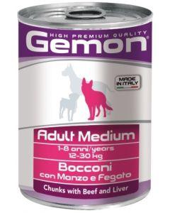 Gemon Dog Medium консервы для собак средних пород кусочки говядины с печенью