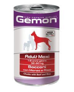 Gemon Dog Maxi консервы для собак крупных пород кусочки говядины с рисом